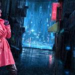 Model in rain city