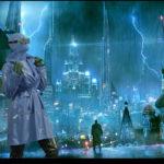 Model in rain city3
